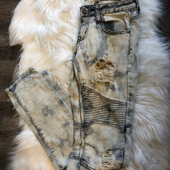 Machine Denim - Machine Novelle mode acid wash moto distress jeans